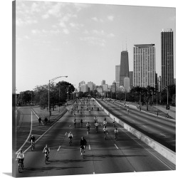 Large Gallery-Wrapped Canvas Wall Art Print 16 x 16 entitled People cycling on a road, Bike The Drive, Lake shore Drive, C...
