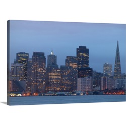 Large Gallery-Wrapped Canvas Wall Art Print 24 x 16 entitled USA, California, San Francisco city skyline, dusk found on Bargain Bro India from Great Big Canvas - Dynamic for $214.99