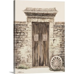 Large Gallery-Wrapped Canvas Wall Art Print 17 x 24 entitled Stone Wall with Door