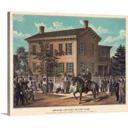 Large Gallery-Wrapped Canvas Wall Art Print 20 x 16 entitled Abraham Lincoln's Return Home