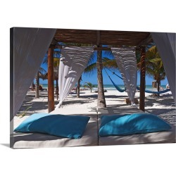 Large Solid-Faced Canvas Print Wall Art Print 30 x 20 entitled Mexico, Yucatan, Holbox, Tropics, Canopy bed on a beach