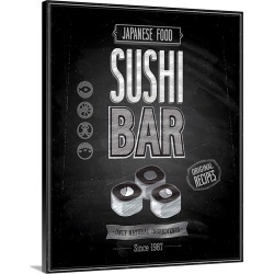 Large Solid-Faced Canvas Print Wall Art Print 24 x 30 entitled Sushi Bar - Chalkboard