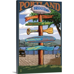 Large Gallery-Wrapped Canvas Wall Art Print 16 x 24 entitled Portland, Oregon Destinations Sign (Powell's Books): Retro Tr... found on Bargain Bro India from Great Big Canvas - Dynamic for $214.99