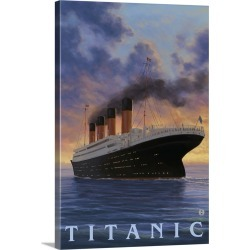 Large Gallery-Wrapped Canvas Wall Art Print 20 x 30 entitled Titanic - White Star Line: Retro Travel Poster