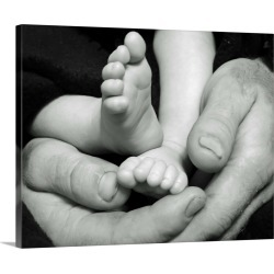 Large Gallery-Wrapped Canvas Wall Art Print 20 x 16 entitled Secure In Daddy's Hands