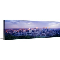 Large Gallery-Wrapped Canvas Wall Art Print 36 x 12 entitled Dusk Montreal Quebec Canada