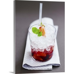 Large Gallery-Wrapped Canvas Wall Art Print 18 x 24 entitled Strawberry drink with crushed ice found on Bargain Bro India from Great Big Canvas - Dynamic for $244.99