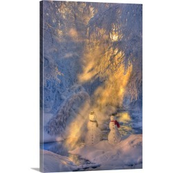 Large Solid-Faced Canvas Print Wall Art Print 20 x 30 entitled Snowman Couple Standing Next To A Stream With Sunrays