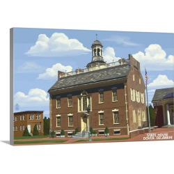 Large Gallery-Wrapped Canvas Wall Art Print 30 x 20 entitled Dover, Delaware - State House Spring Scene: Retro Travel Poster