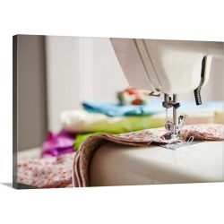 Large Solid-Faced Canvas Print Wall Art Print 30 x 20 entitled Close-up of sewing machine