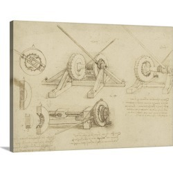 Large Gallery-Wrapped Canvas Wall Art Print 24 x 18 entitled Winch, great spring catapult and ladder from Atlantic Codex