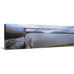 Large Gallery-Wrapped Canvas Wall Art Print 36 x 12 entitled Seaplane on the beach, Katmai National Park, Alaska