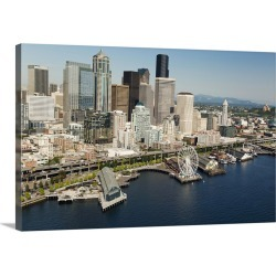 Large Gallery-Wrapped Canvas Wall Art Print 24 x 16 entitled Seattle Great Wheel, Waterfront and skyline, Seattle