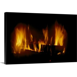 Large Gallery-Wrapped Canvas Wall Art Print 24 x 16 entitled A log fire in a fireplace