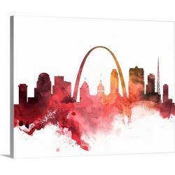 Large Solid-Faced Canvas Print Wall Art Print 30 x 24 entitled St. Louis Watercolor Cityscape II