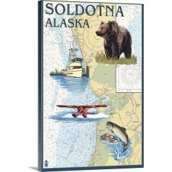 Large Gallery-Wrapped Canvas Wall Art Print 16 x 24 entitled Soldotna, Alaska - Nautical Chart: Retro Travel Poster found on Bargain Bro India from Great Big Canvas - Dynamic for $214.99