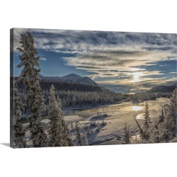Large Solid-Faced Canvas Print Wall Art Print 30 x 20 entitled Takhini River on a late winter afternoon, Yukon, Canada