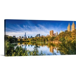 Large Gallery-Wrapped Canvas Wall Art Print 36 x 17 entitled New York City, Manhattan, Central Park, the lake Apartment Bu...