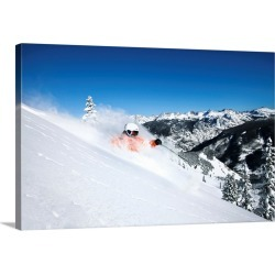 Large Gallery-Wrapped Canvas Wall Art Print 24 x 16 entitled A skier rips fresh powder turns on a sunny day in Colorado.