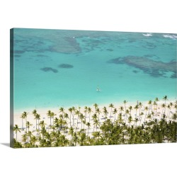 Large Solid-Faced Canvas Print Wall Art Print 30 x 20 entitled Dominican Republic, Punta Cana, Bavaro beach with a single ...