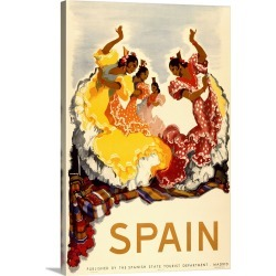 Large Gallery-Wrapped Canvas Wall Art Print 15 x 24 entitled Vintage Advertising Poster - Spain - Women Dancing found on Bargain Bro India from Great Big Canvas - Dynamic for $199.99