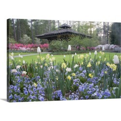 Large Gallery-Wrapped Canvas Wall Art Print 24 x 16 entitled A covered pavilion in a garden of spring flowers