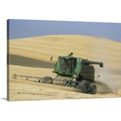 Large Solid-Faced Canvas Print Wall Art Print 30 x 20 entitled Combine harvester harvesting golden wheat, late Summer, Was...