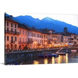 Large Solid-Faced Canvas Print Wall Art Print 30 x 20 entitled Italy, Piedmont, Verbano-Cusio Ossola district, Cannobio, L...