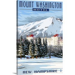 Large Gallery-Wrapped Canvas Wall Art Print 16 x 24 entitled Mount Washington Hotel in Winter - Bretton Woods, New Hampshi...