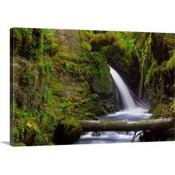 Large Gallery-Wrapped Canvas Wall Art Print 24 x 16 entitled Virgin Creek Falls near Girdwood, Alaska, HDR image found on Bargain Bro India from Great Big Canvas - Dynamic for $214.99
