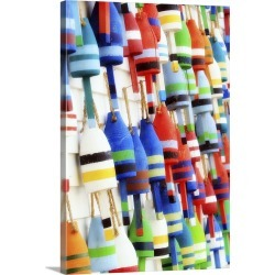 Large Gallery-Wrapped Canvas Wall Art Print 16 x 24 entitled Colorful reproductions of lobster buoys displayed on the side...