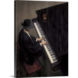 Large Solid-Faced Canvas Print Wall Art Print 30 x 40 entitled Piano Bar I