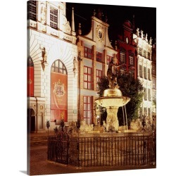 Large Gallery-Wrapped Canvas Wall Art Print 18 x 20 entitled Poland, Pomorskie, Neptune fountain and Dwor Artusa, History ... found on Bargain Bro India from Great Big Canvas - Dynamic for $204.99