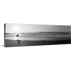 Large Solid-Faced Canvas Print Wall Art Print 48 x 16 entitled Surfer San Diego CA