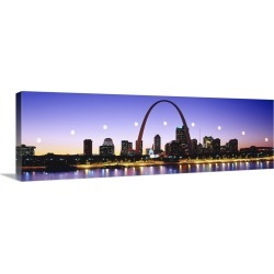 Large Solid-Faced Canvas Print Wall Art Print 48 x 16 entitled Skyline St Louis MO