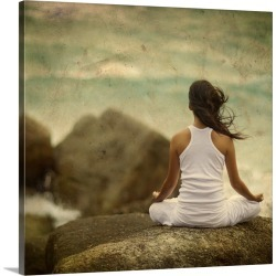 Large Solid-Faced Canvas Print Wall Art Print 20 x 20 entitled Woman Meditating by the Ocean