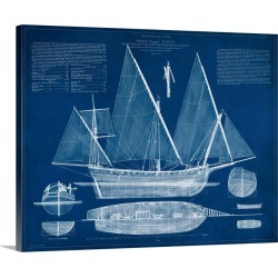 Large Gallery-Wrapped Canvas Wall Art Print 20 x 16 entitled Antique Ship Blueprint III