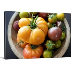 Large Gallery-Wrapped Canvas Wall Art Print 24 x 16 entitled Freshly picked heirloom tomatoes found on Bargain Bro India from Great Big Canvas - Dynamic for $169.99