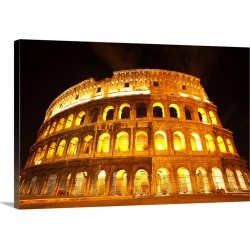 Large Gallery-Wrapped Canvas Wall Art Print 24 x 16 entitled A lit Colosseum in Rome, Italy