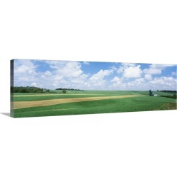 Large Gallery-Wrapped Canvas Wall Art Print 36 x 12 entitled Barn in a field, Wisconsin
