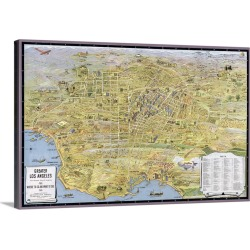 Large Solid-Faced Canvas Print Wall Art Print 30 x 20 entitled Vintage Birds Eye View Map of Los Angeles found on Bargain Bro India from Great Big Canvas - Dynamic for $169.99