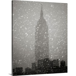 Large Gallery-Wrapped Canvas Wall Art Print 19 x 24 entitled Snowfall In New York City