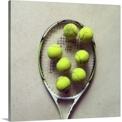 Large Solid-Faced Canvas Print Wall Art Print 20 x 20 entitled Tennis racquet and tennis balls.