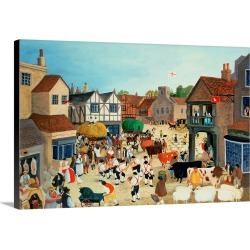 Large Solid-Faced Canvas Print Wall Art Print 30 x 20 entitled 18th Century Mayfair Cattle Market