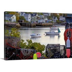 Large Solid-Faced Canvas Print Wall Art Print 30 x 20 entitled Scenic village, lobster boats, traps and colorful floats