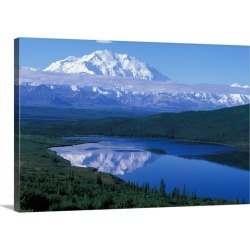 Large Gallery-Wrapped Canvas Wall Art Print 30 x 20 entitled USA, Alaska, Denali National Park, Mt. McKinley reflected in ...