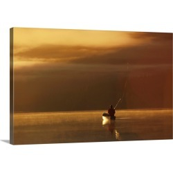 Large Gallery-Wrapped Canvas Wall Art Print 24 x 16 entitled Trail Lake Kenai Peninsula Southcentral Alaska Flyfisherman C... found on Bargain Bro India from Great Big Canvas - Dynamic for $214.99