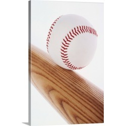 Large Gallery-Wrapped Canvas Wall Art Print 16 x 24 entitled Baseball bat and ball found on Bargain Bro India from Great Big Canvas - Dynamic for $214.99