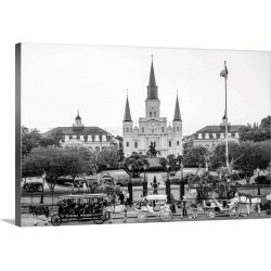 Large Solid-Faced Canvas Print Wall Art Print 30 x 20 entitled St. Louis Cathedral and Jackson Square, New Orleans, Louisiana