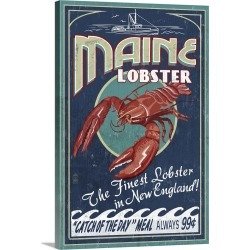 Large Gallery-Wrapped Canvas Wall Art Print 20 x 30 entitled Maine Lobster Vintage Sign: Retro Travel Poster
